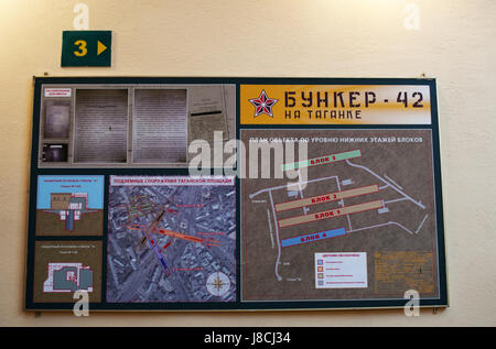 Moscow, Russia: the map of the Bunker-42, anti-nuclear underground facility built in 1956 as command post of strategic - Stock Photo
