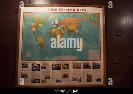 Moscow: a world map at Bunker-42, anti-nuclear underground facility built in 1956 as command post of strategic nuclear - Stock Photo