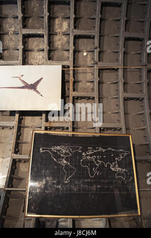 posters of military aircrafts at the Bunker-42, anti-nuclear underground facility built in 1956 as command post - Stock Photo