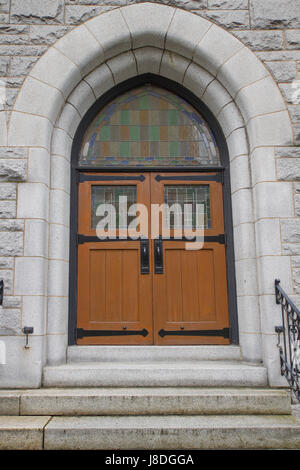 church, stone, arch, entrance, doors, christianity, old, stairs, glass, - Stock Photo