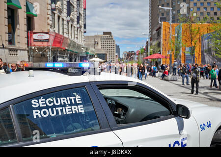 MONTREAL, QUEBEC, CANADA - 19 MAY 2017: Security police car parked in  Montreal streets during 375th birthday bash - Stock Photo