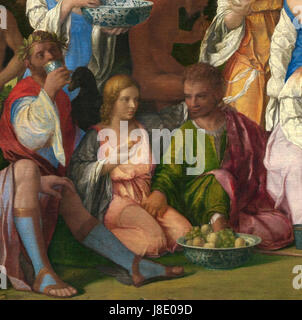Giovanni Bellini and Titian   The Feast of the Gods   Detail  Lovers - Stock Photo