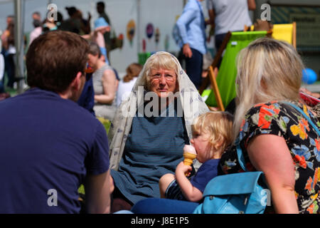 Hay Festival 2017 - Hay on Wye, Wales, UK - Sunday 28th May 2017 - Hot sunshine this morning on Day 4 of Hay Festival - Stock Photo