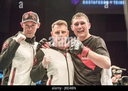 Ericsson Globe, Stockholm, Sweden. 28th May, 2017. Darren Till defeats Jesin Ayari. Judges discussion during UFC - Stock Photo