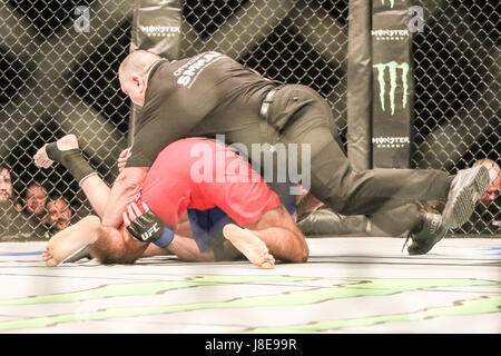 Ericsson Globe , Stockholm, Sweden . 28 May 2017. Peter Sobotta defeats Ben Saunders via TKO during UFC Fight  Night - Stock Photo