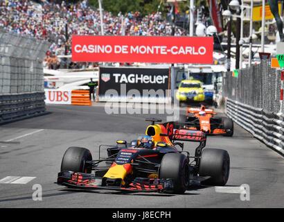 Monaco. 28th May, 2017. Red Bull Racing driver Daniel Ricciardo of Australia is seen during the race of the Formula - Stock Photo