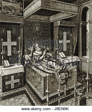 Henry IV of France as he lay in state after his murder in the year 1610, engraving after Quesnel   Gallica 2010 - Stock Photo
