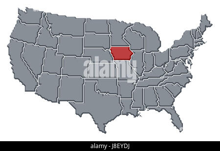 Iowa State Political Map Stock Photo Royalty Free Image - Iowa state in usa map
