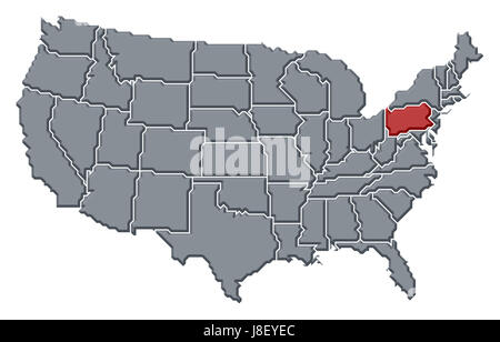 Pennsylvania State Political Map Stock Photo Royalty Free Image - Political usa map