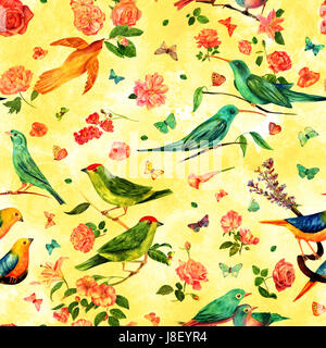 Seamless pattern with vintage watercolor drawings of birds, flowers, including roses, camellias, lilies, and others, - Stock Photo