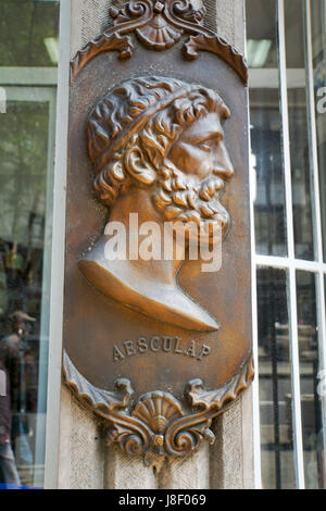 Sculpture of Aesculap or Asclepius was a hero and god of medicine in ancient Greek religion and mythology. Asclepius represents the healing aspect of