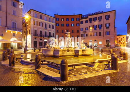 Piazza Navona Square at night, Rome, Italy. - Stock Photo