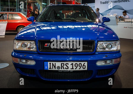 STUTTGART, GERMANY - MARCH 04, 2017: Entry-level luxury car Audi RS 2 Avant, 1995. Europe's greatest classic car - Stock Photo