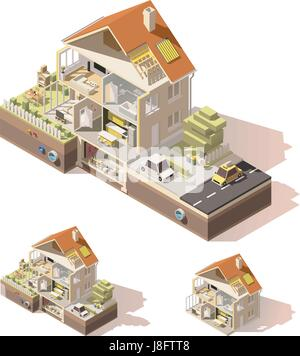 Vector isometric low poly house cross-section - Stock Photo
