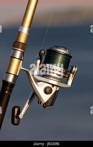 fishing, reel, close, macro, close-up, macro admission, close up view, detail, - Stock Photo