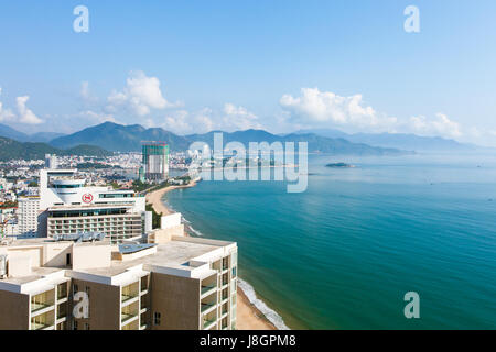 Panoramic daytime view of Nha Trang city, popular tourist destination in Vietnam. - Stock Photo