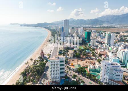 Nha Trang, Vietnam - January 5, 2016: Panoramic daytime view of Nha Trang city, popular tourist destination in Vietnam - Stock Photo