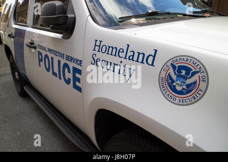 department of homeland security federal protective service vehicle with logo New York City USA - Stock Photo