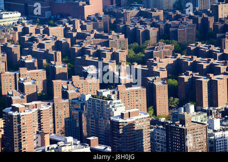 view over stuyvesant town and peter cooper village postwar housing projects lower manhattan New York City USA - Stock Photo