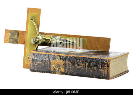 crucifix and bible isolated on white background - Stock Photo