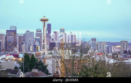 The Skyline of Seattle - aerial view from Kerry Park - SEATTLE / WASHINGTON - APRIL 11, 2017 - Stock Photo