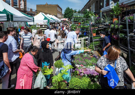 London's popular Columbia Road flower market in East London on a sunny Sunday morning - Stock Photo