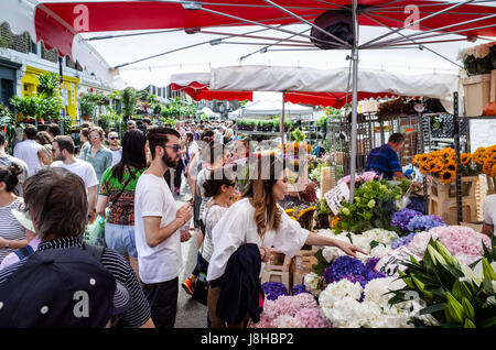 Columbia Road Flower Market - a very popular Sunday market in East London - Stock Photo