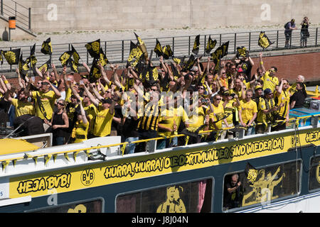 Berlin, Germany - may 27, 2017: German football fans of BVB Borussia Dortmund on boat on the day of the DFB-Pokal - Stock Photo