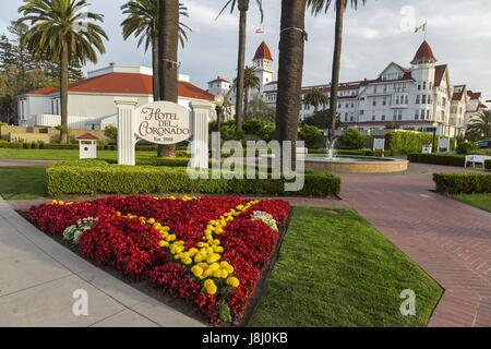 Garden in front of historic Hotel Del Coronado on Coronado Peninsula near San Diego California - Stock Photo