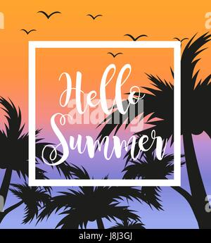 Hello summer template for poster in white frame on a background of sunset and palm trees. Beach concept, vacation, - Stock Photo