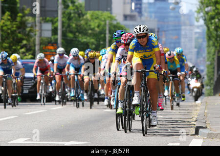 KYIV, UKRAINE - MAY 27, 2017: Women Cyclists ride on the streets of Kyiv city during Horizon Park Race Women Challenge. - Stock Photo