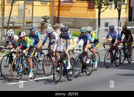 KYIV, UKRAINE - MAY 27, 2017: Women Cyclists ride on the streets of Kyiv city during Horizon Park Race Women Challenge. - Stock Photo