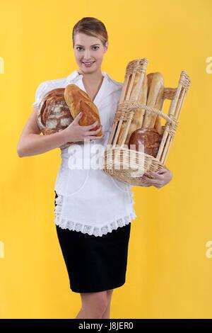 board, basket, baker, bakery, bakeshop, backery, baguette, baked, blond, - Stock Photo