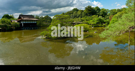 garden, japanese, japan, house, building, walk, go, going, walking, shine, - Stock Photo
