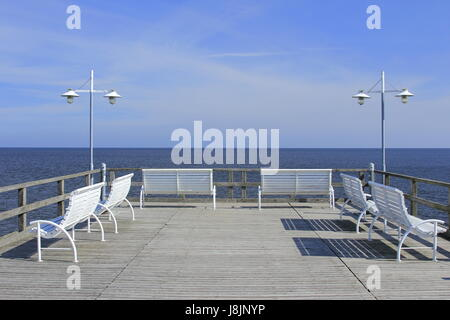 benches on the pier - Stock Photo