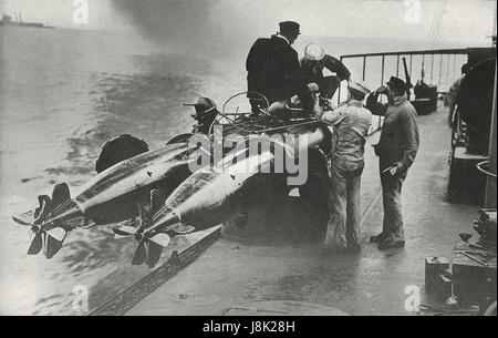 Torpedos ready to be charged, American Navy, circa 1915 - Stock Photo