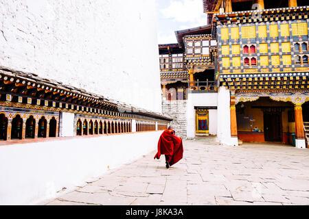 Buddhist monks in Bhutan. - Stock Photo