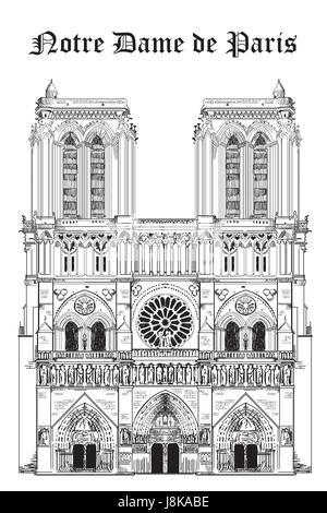 Notre Dame De Paris Disegno.Vector Illustration Of Notre Dame De Paris Stock Vector Art