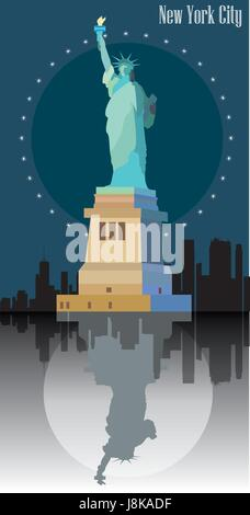 Statue of freedom ( Statue of Liberty) on blue background of New York.  Colorful vector image - Stock Photo