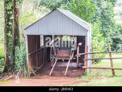 Old barn at Pilgrims Rest, an old gold digger town in South Africa - Stock Photo