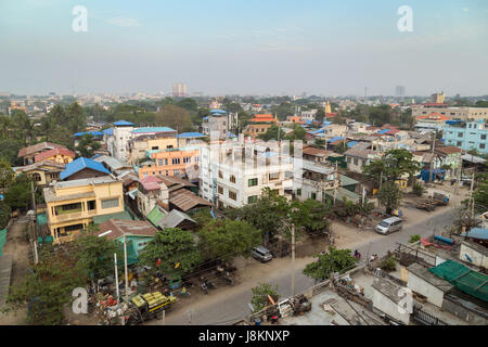 Outskirts of the Mandalay city in Myanmar (Burma) viewed from above. - Stock Photo