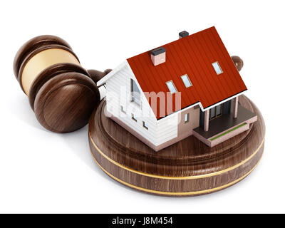 House under a wooden gavel. 3D illustration. - Stock Photo