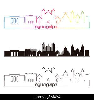 Tegucigalpa skyline linear style with rainbow in editable vector file - Stock Photo