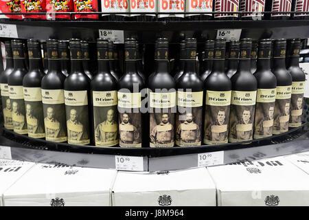 Bottles of Red Australian wine '19 Crimes' on display for sale, Australia - Stock Photo