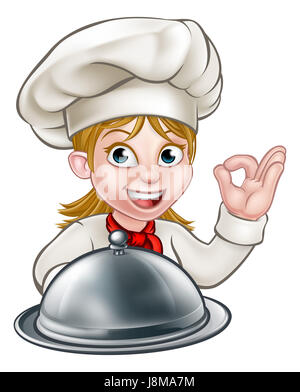 Cartoon woman chef or baker character holding a silver cloche food meal plate platter and giving a perfect okay - Stock Photo