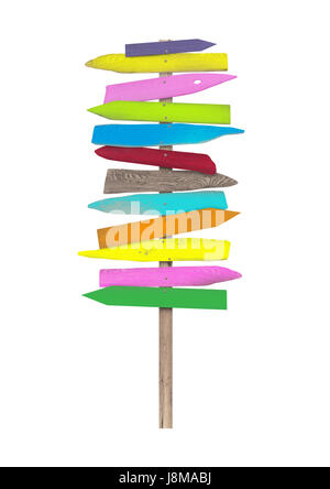 bright colorful blank wooden directional beach signs on pole, isolated on white background - Stock Photo