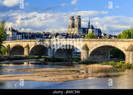 France, Loiret, Orleans, the Loire, the bridge Georges V and Sainte Croix Cathedral - Stock Photo