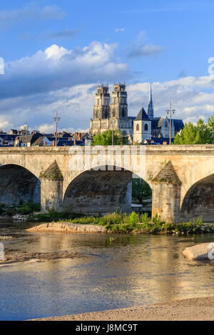 France, Loiret, Orleans, the Loire, the bridge Georges V and Sainte Croix Cathedral - Stock Photo