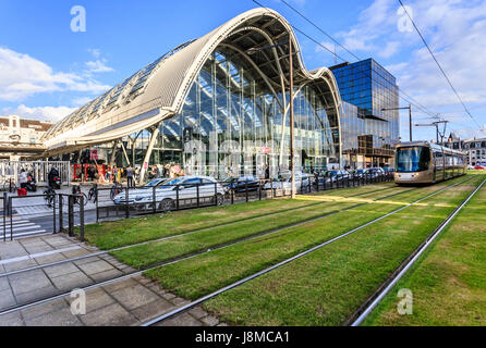 France, Loiret, Orleans, the train station and tram - Stock Photo