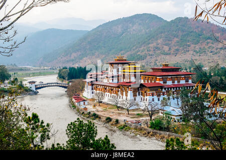 Punakha Dzong or Pungtang Dechen Photrang Dzong means the palace of great happiness located in Punakha district - Stock Photo